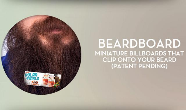 Miniature Billboards that Clip to Your Beard