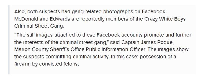 From the Marion County Sheriff's Department' press release: