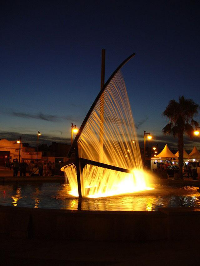 Water Boat Fountain at Night