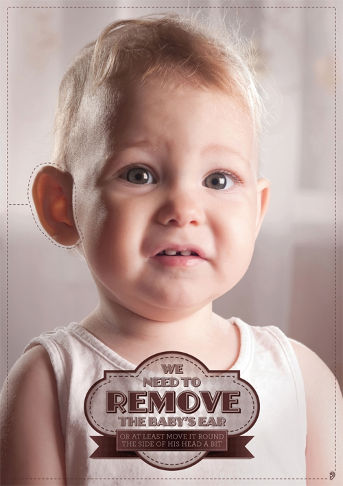 Remove the baby's ears