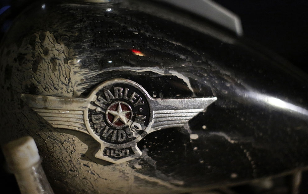 Harley Davidson logo on a dirtied motorcycle, during China's annual Harley Davidson Rally in Zhejiang Province, on May 1