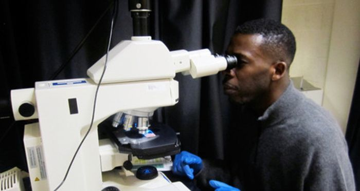 GZA using a microscope on what looks like low power:
