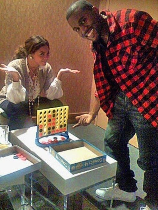 Kanye West beating Beyonce in Connect-4 after losing 30 games in a row: