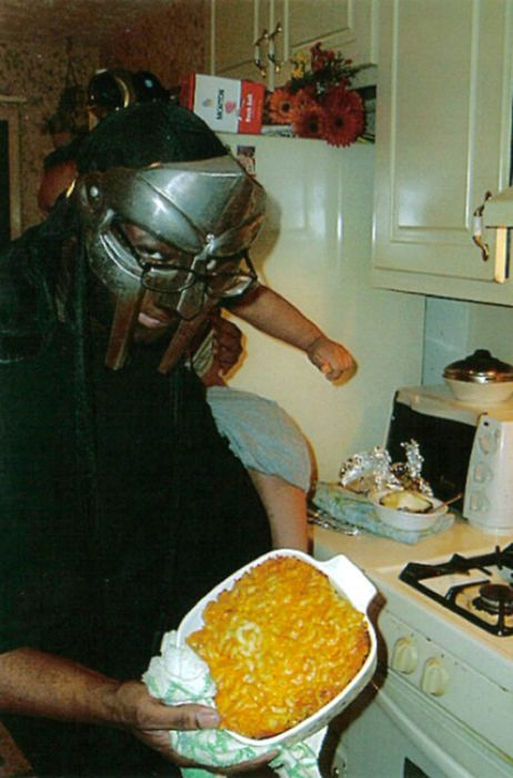 MF Doom baking a casserole for a dinner party: