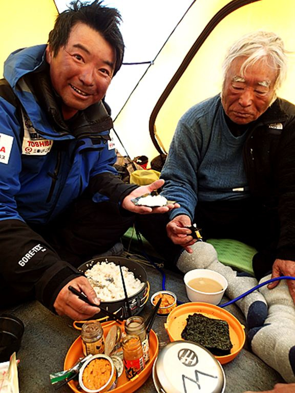 Eating Sushi at South Col camp at 8,000 meters