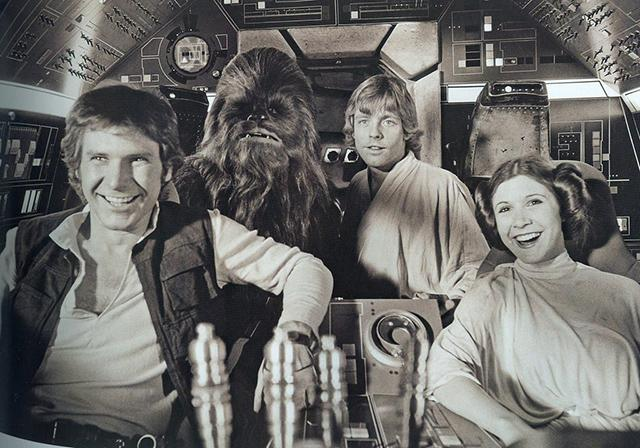 Harrison Ford, Peter Mayhew, Mark Hamill and Carrie Fisher (Star Wars Episode IV: A New Hope – 1977)