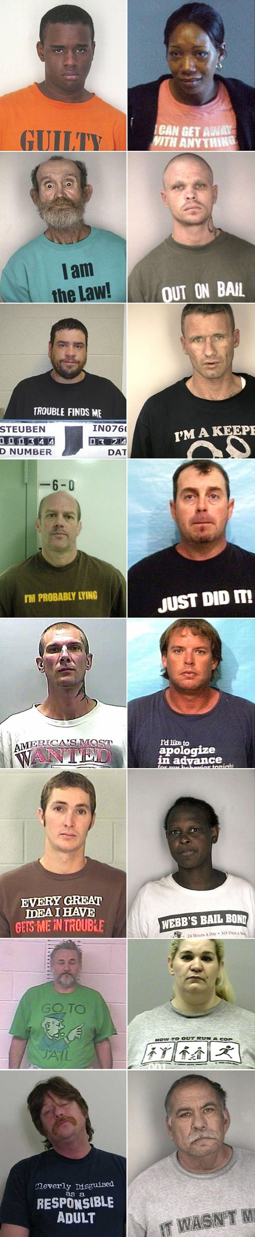 Unfortunate T-Shirts For Mug Shot Photos
