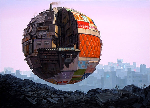 Futuristic Orbs Hover Over A Post-Apocalyptic World