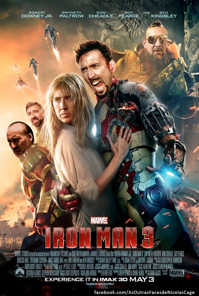 Iron Man 3 Re-Imagined With Nicolas Cage Movie Poster