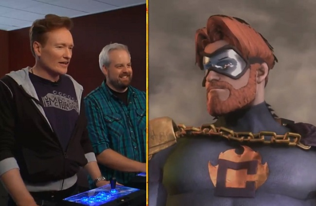 Conan O'Brien Plays 'Injustice: Gods Among Us' As The Flaming C