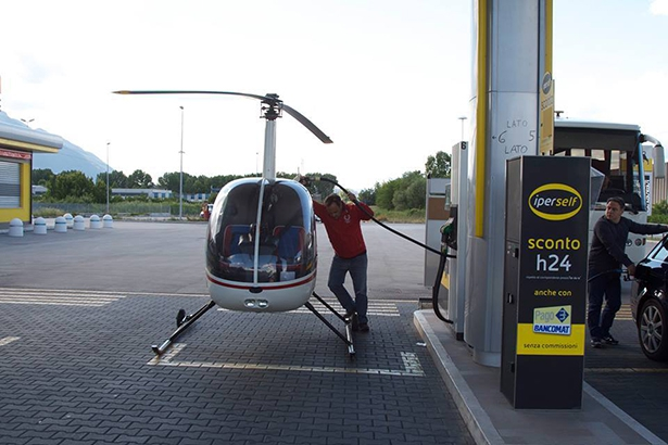 Helicopter at the gas station