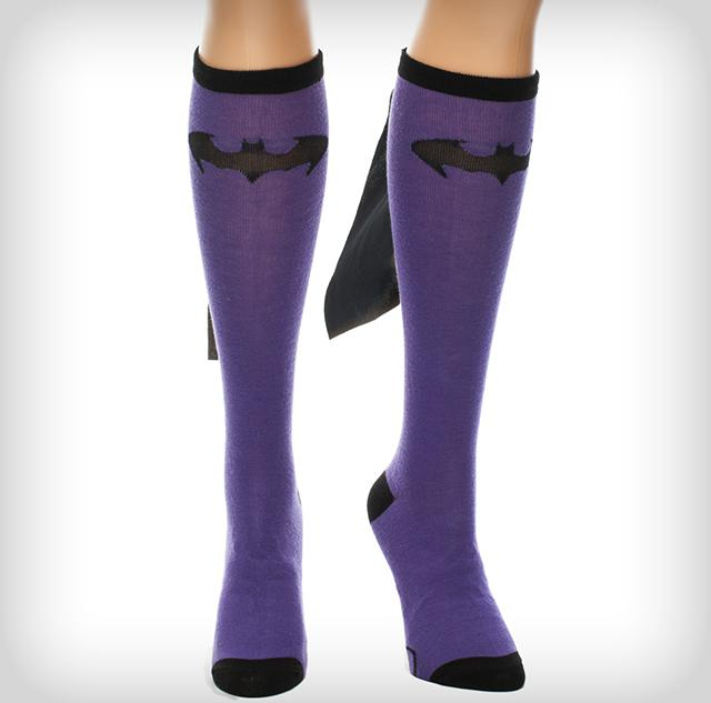 Batman Purple Black Caped Knee High Socks