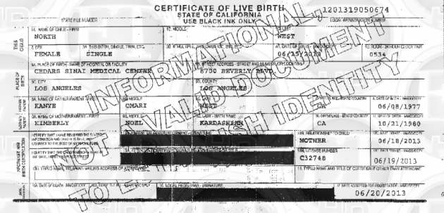 Birth Certificate from Kim and Kanye West Named Their Baby North West