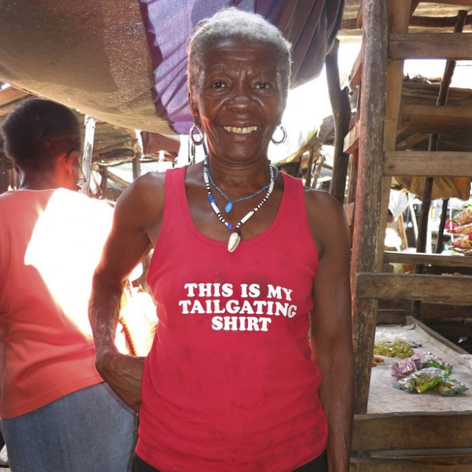 Tacky American t-shirts worn in Haiti