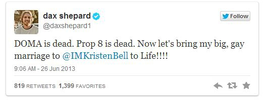 Now That Their Gay Friends Can Marry, Kristen Bell Proposes on Twitter