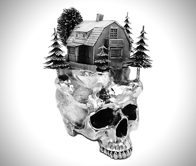 Stylish Silver Skulls Used To House Wintry Landscapes