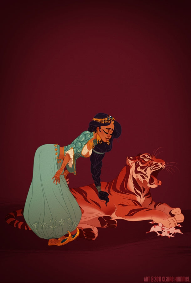 Beautifully Illustrated Disney Princesses Wearing Traditional Clothing