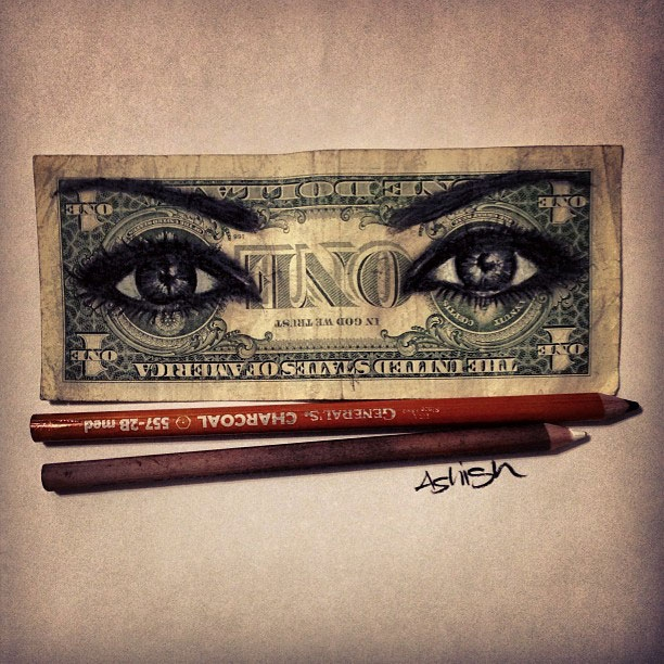 Amazing Pencil Portraits Drawn Onto Dollar Bills