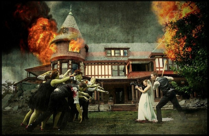 Wedding photos featuring the bridal party being terrifyingly attacked