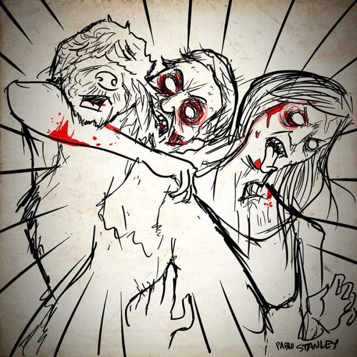 People Made Into Zombie Illustrations At Comic Con.