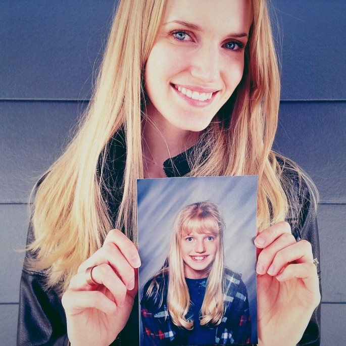 Nice-looking ladies posing with photos of themselves as awkward kids