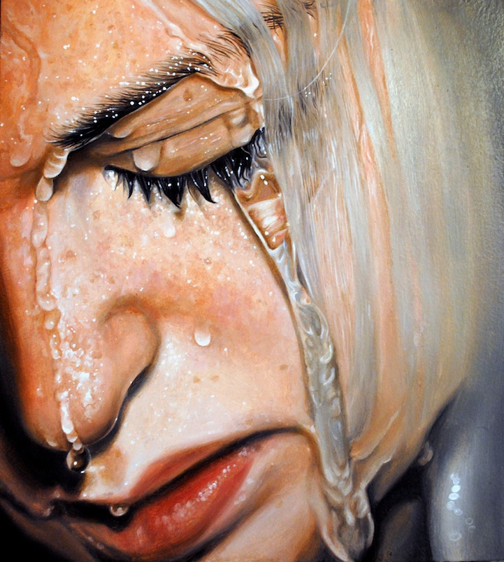 Expressive Photorealistic Oil Paintings of People in Water