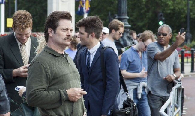 Ron Swanson Keeps One Hand Down His Pants At Buckingham Palace