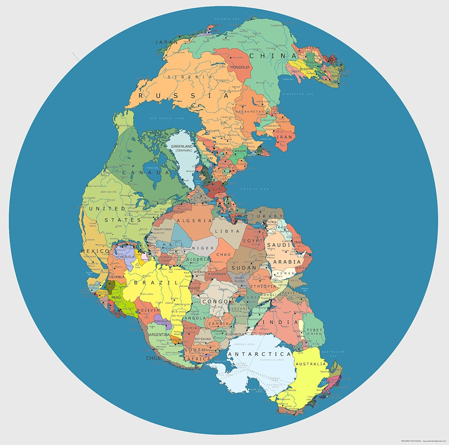 Political World Map as Pangea 200-300 Million Years Ago