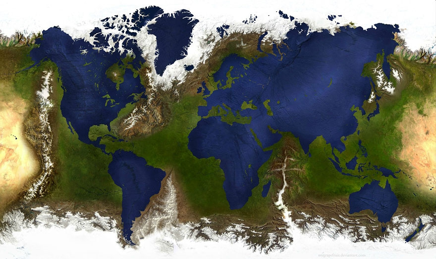 A World Map that Inverts Land and Sea