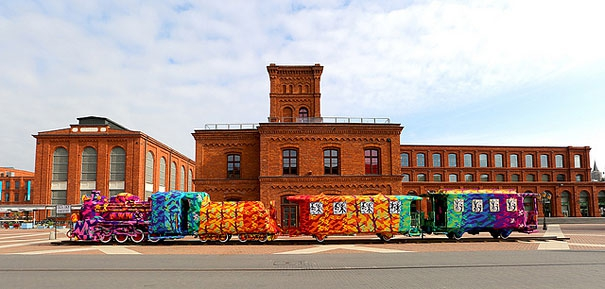Crocheting Artist Yarn Bombs An Entire Locomotive in Poland