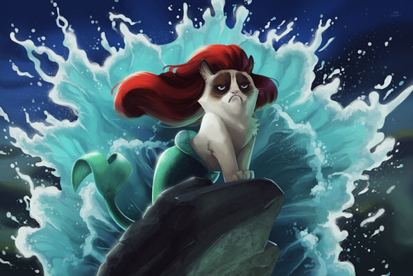 Grumpy Cat Meets Disney Movies  disney, funny, grumpy-cat, hilarious, meme, movie