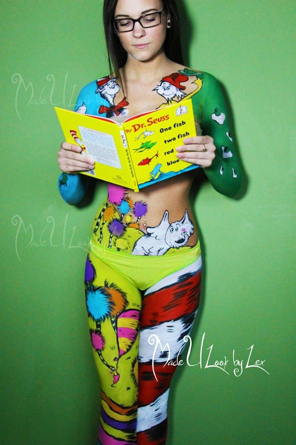 Dr. Seuss Body Art  art, artist, body-art, cool, dr. seuss, fun, lex-fleming, make-up