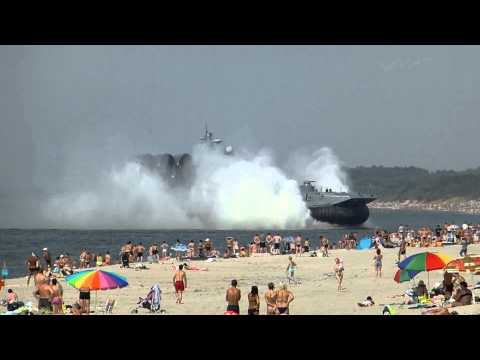 Giant 550-Ton Military Hovercraft Lands on Crowded Beach in Russia