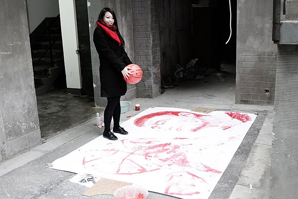 Impressive Portrait Of Yao Ming Painted Using A Basketballd