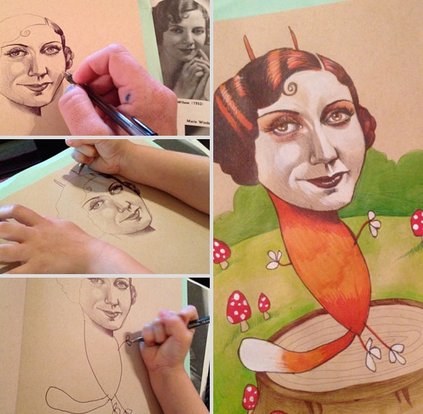 Professional Illustrator Collaborates With Her 4-Year Old Daughter