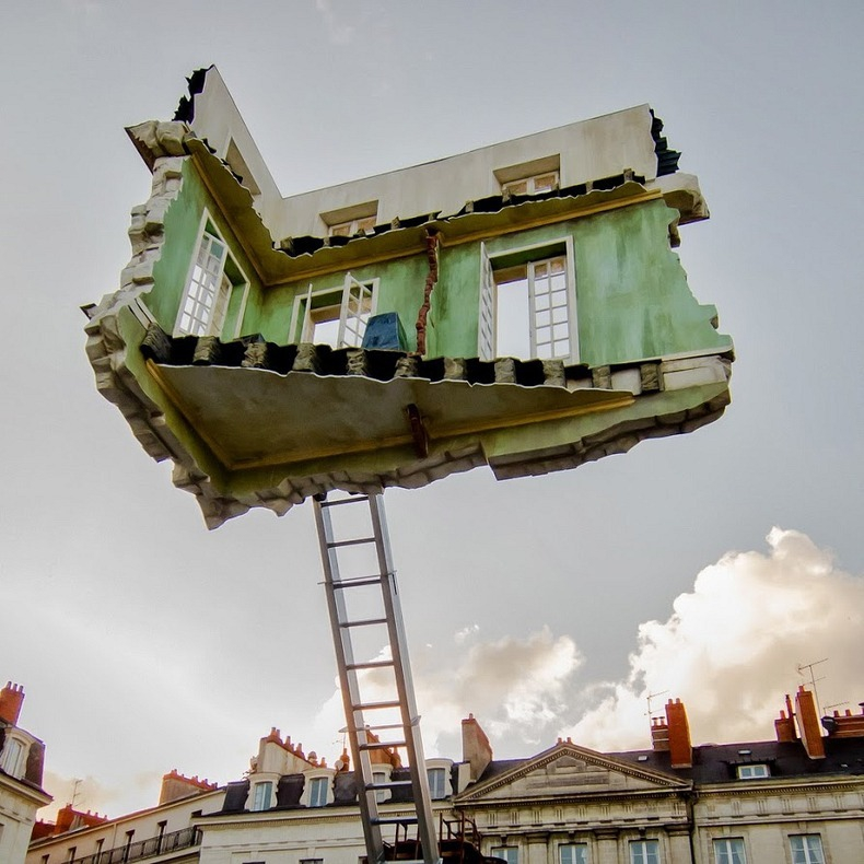 Surreal Floating Room Sculptures by Leandro Erlich building, cool, floating, home, leanardo-erlich, room, sculpture, surreal
