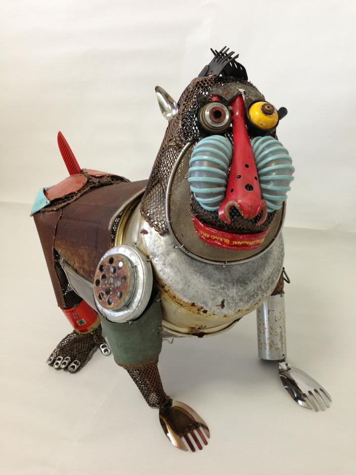 "Playful Animal Sculptures Made of Salvaged Materials ""material"", animal, art, cool, funny, japan, natsumi-tomita, playful, salvage, sculpture, the-small-forest"