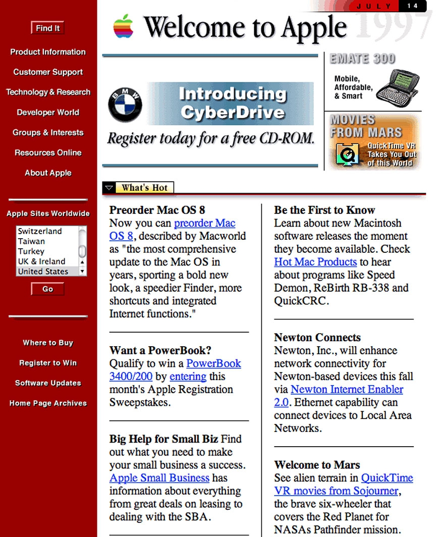 What 12 of The World's Biggest Websites Looked Like at the Beginning