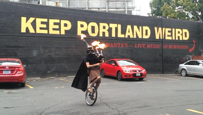 Unicycling Darth Vader Has Upgraded To Flaming Bagpipes
