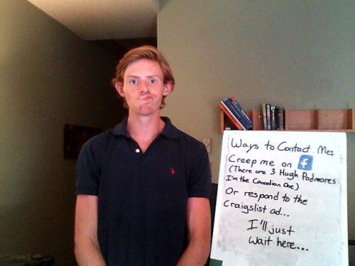 One Guy's Creative Roommate Search Campaign campaing, cool, creative, funny, rommate, search, slideshow