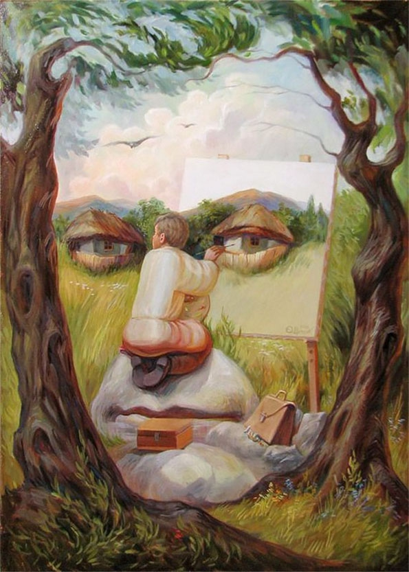Optical Illusions Portraits  art, artist, interesting, oleg-shuplyak, optical-illusion, portrait