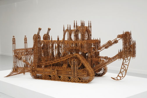 Construction Vehicles Designed as Gothic Architecture architecture, art, design, sculpture, wim-delvoye