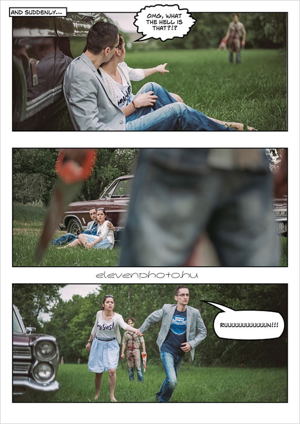 Comic Book Engagement Shoot  book, comic, cool, couple, creative, engagement, funny, hilarious, shoot