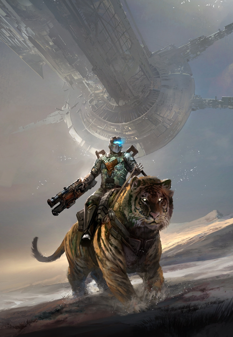 Isaac from Dead Space Riding a Siberian Tiger