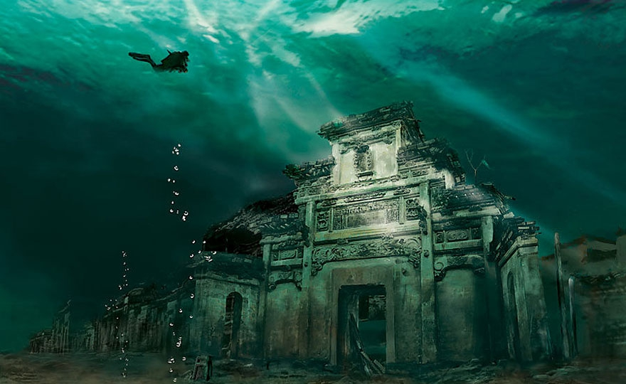 16. Underwater City in Shicheng, China abandoned-buildings, abandoned-cities, abandoned-places, abandoned-structures, creepy, full-page, ghost-towns, haunted, urban-exploration, urban-photography