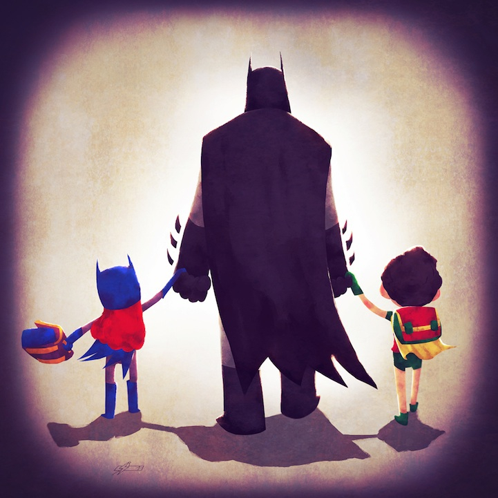 Adorable Illustrations of Superhero Families