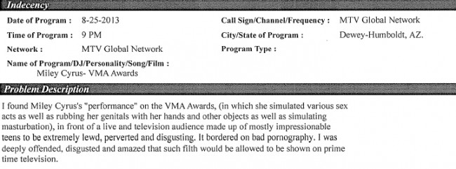 List Of Miley Cyrus's VMAs FCC Complaints