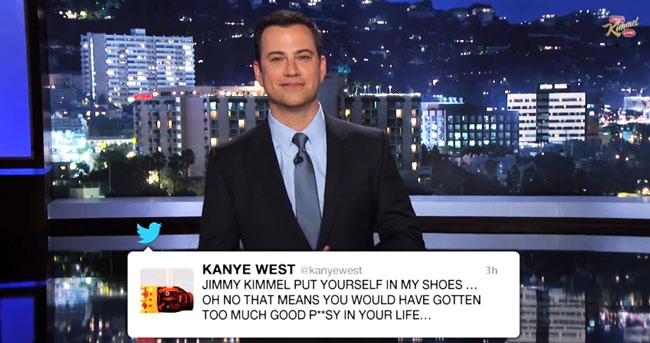 Watch Jimmy Kimmel Address Kanye West's Twitter Rant In His Monologue awesome, celebs, cool, interesting, music, news, style, topics, trending, weird