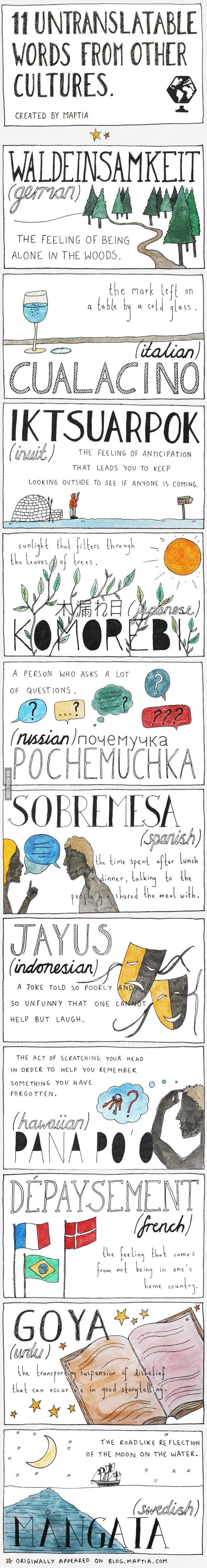 Untranslable words, shows a lot about a different cultures cultures, languages