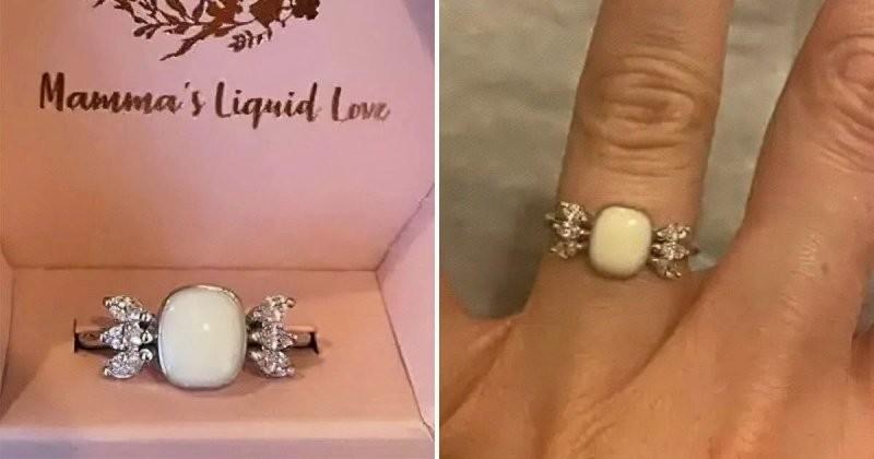 Мужчина вручил любимой кольцо из ее грудного молока  (4 фото)